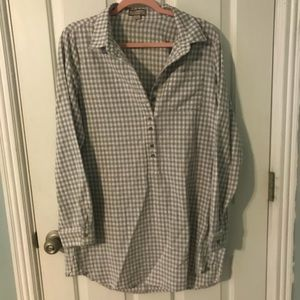 Ethereal Button Down Plaid Dress Tunic Grey Large